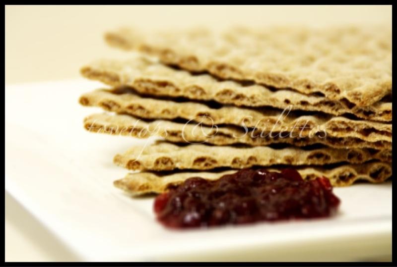 Swedish rye break crisps with lingonberry preserves